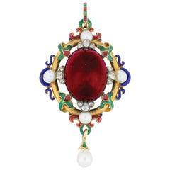 Victorian Holbeinesque Garnet Pendant