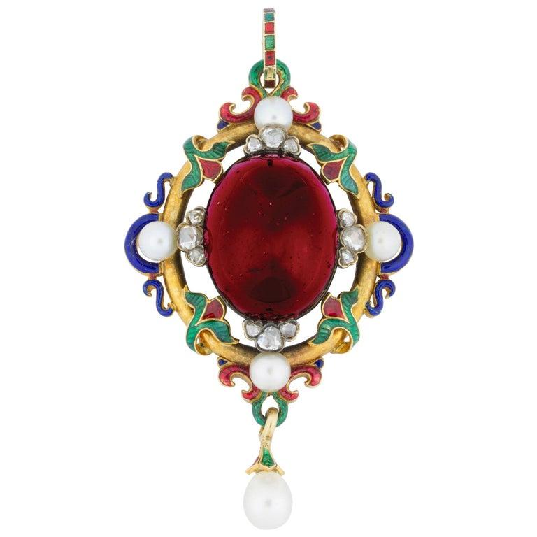 Victorian Holbeinesque Garnet Pendant For Sale