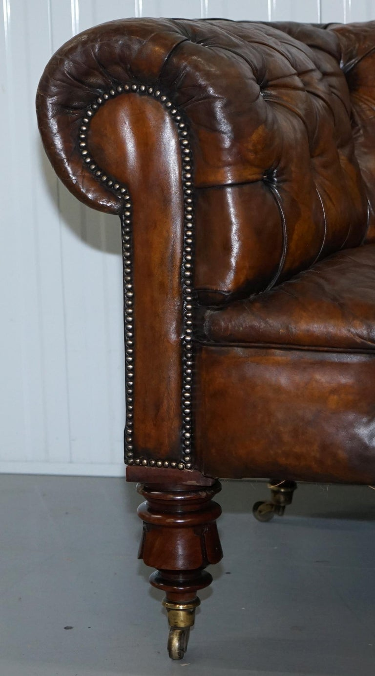 victorian horse hair fully restored brown leather chesterfield sofa redwood leg for sale at 1stdibs. Black Bedroom Furniture Sets. Home Design Ideas