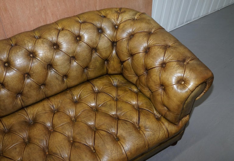 19th Century Victorian Horse Hair Green Hand Dyed Leather Chesterfield Fully Button Base Sofa For Sale