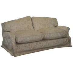 Victorian Howard & Sons Sofa with Feather Filled Cushions and Removable Covers