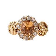 Victorian Imperial Topaz & Diamond Ring Certified Untreated