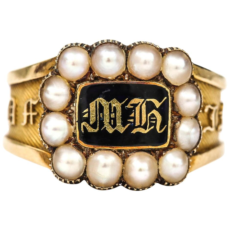 Victorian In Memory Of 18k Gold, Black Enamel and Pearl Mourning Ring circa 1885
