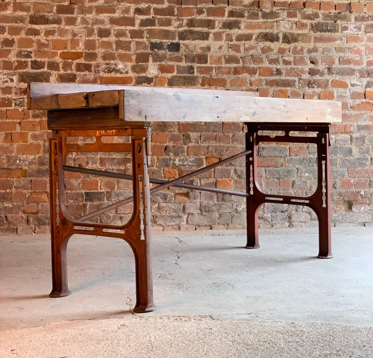 Victorian Industrial Workbench Table, circa 1868 For Sale 5