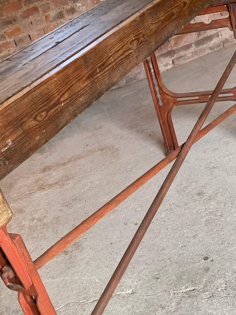 Victorian Industrial Workbench Table, circa 1868 In Distressed Condition For Sale In Longdon, Tewkesbury