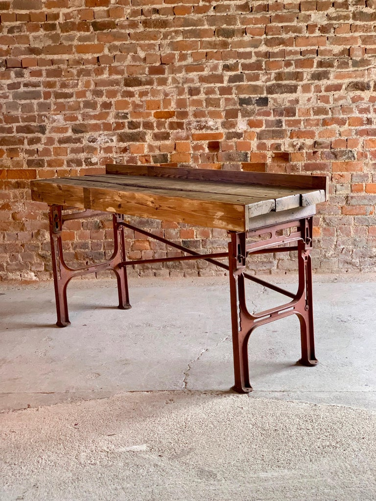 Iron Victorian Industrial Workbench Table, circa 1868 For Sale