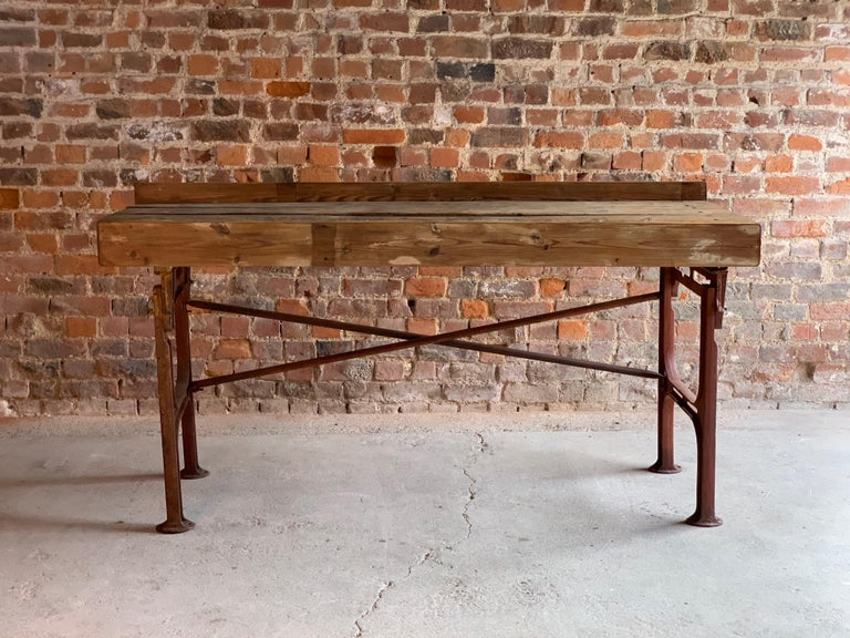 Victorian Industrial Workbench Table, circa 1868 For Sale 1