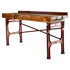 Victorian Industrial Workbench Table, circa 1868