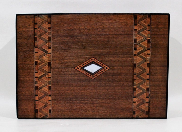 Wood Victorian Inlaid Box with Mother of Pearl For Sale