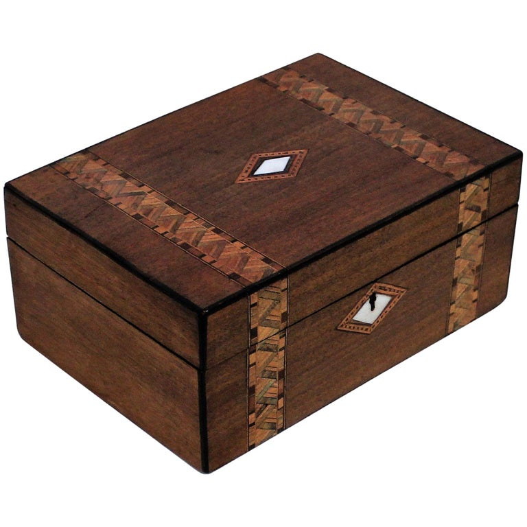 Victorian Inlaid Box with Mother of Pearl For Sale