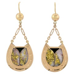 Victorian Inlaid Gold-in-Quartz and Agate Horseshoe Earrings