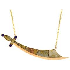 Victorian Inlaid Gold Quartz and Lapis Saber Sword Pendant Necklace