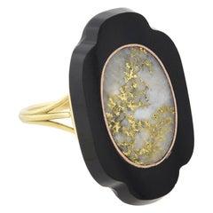 Victorian Inlaid Gold Quartz and Onyx Plaque Ring