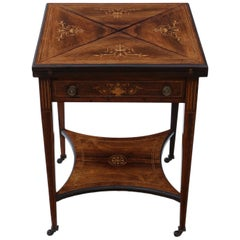 Victorian Inlaid Rosewood Games Table