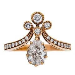 Victorian Inspired 0.71 Carat Pear Shape Diamond Tiara Engagement Ring