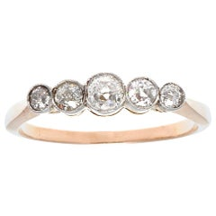 Victorian Inspired 5-Stone Old European Cut Diamond 18 Karat Rose Gold Band Ring