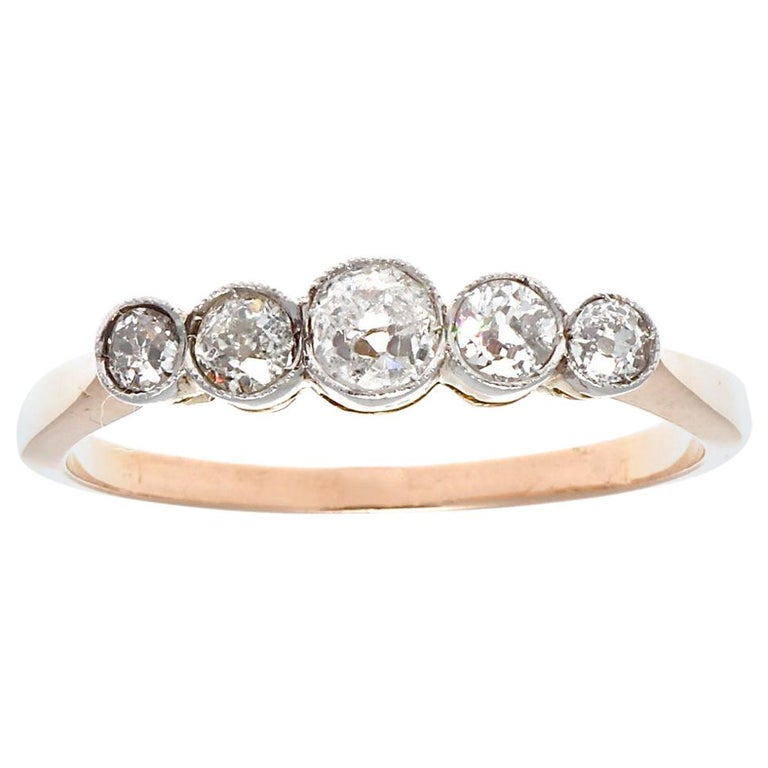 Victorian Inspired 5-Stone Old European Cut Diamond 18 Karat Rose Gold Band Ring For Sale