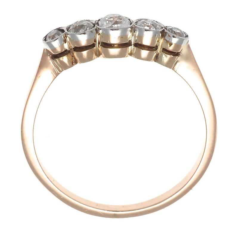 Women's Victorian Inspired 5-Stone Old European Cut Diamond 18 Karat Rose Gold Band Ring For Sale