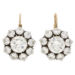 Victorian Inspired Convertible Cluster Drop Diamond Earrings Set in 18k Gold