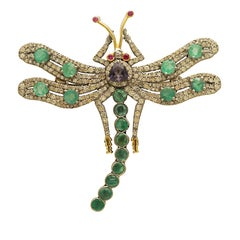 Victorian Inspired Dragonfly Brooch/Pendant with Diamond, Emerald & Iolite