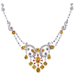 Fancy Intense Yellow, Pink and White Diamond Necklace