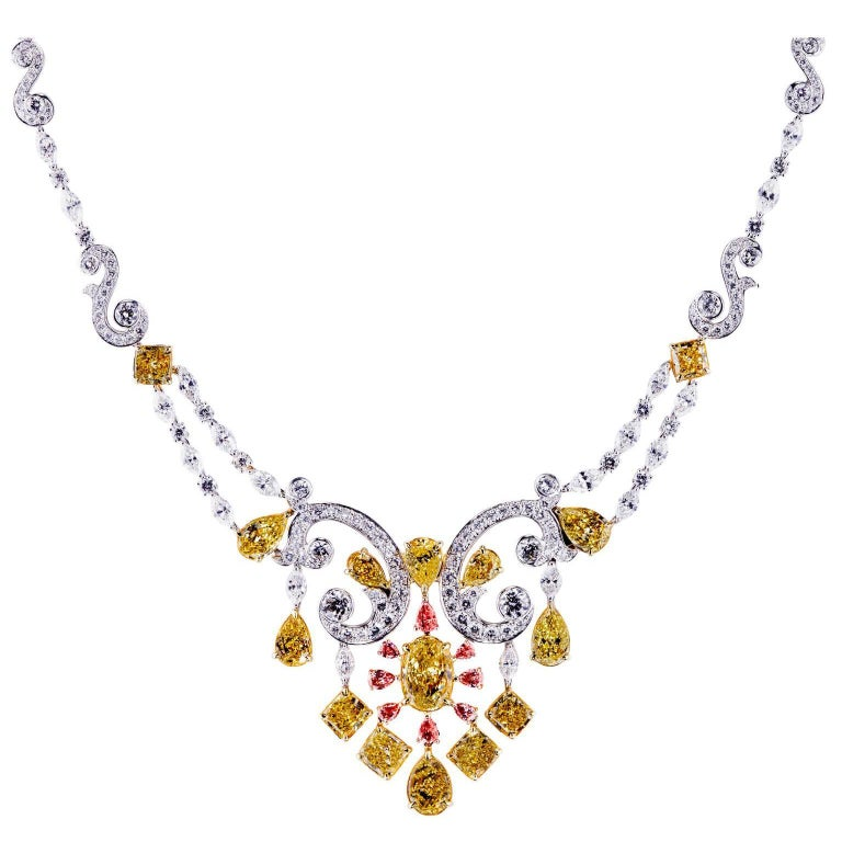 Fancy Intense Yellow, Pink and White Diamond Necklace For Sale