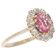 Victorian Inspired Pink Tourmaline Diamond Gold Ring