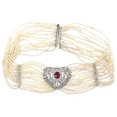 Victorian Inspired Ruby and Diamond Heart Shape Pearl Choker Necklace