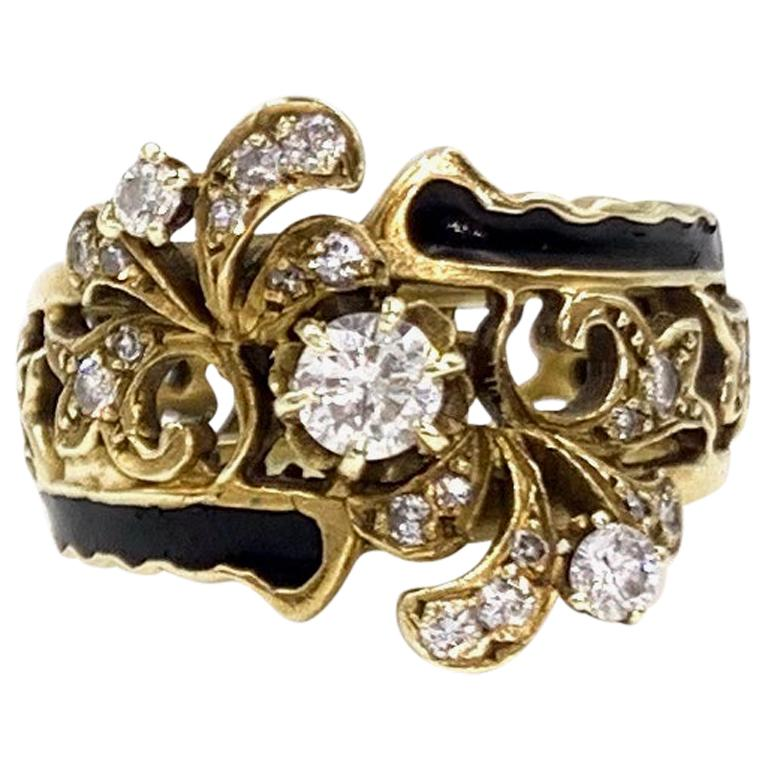 Victorian Inspired Yellow Gold, Diamond and Enamel Wide Ring