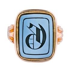 Victorian Intaglio Hardstone 14 Karat Gold Unisex Lettered Signet Ring