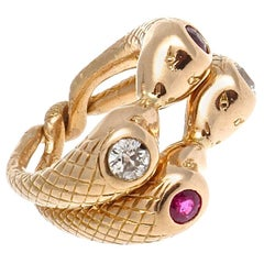 Victorian Intertwining Ruby Diamond Gold Snake Rings