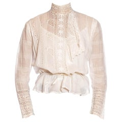 Victorian Ivory Hand Embroidered Organic Cotton Lace Swan Neck Blouse With Asymm