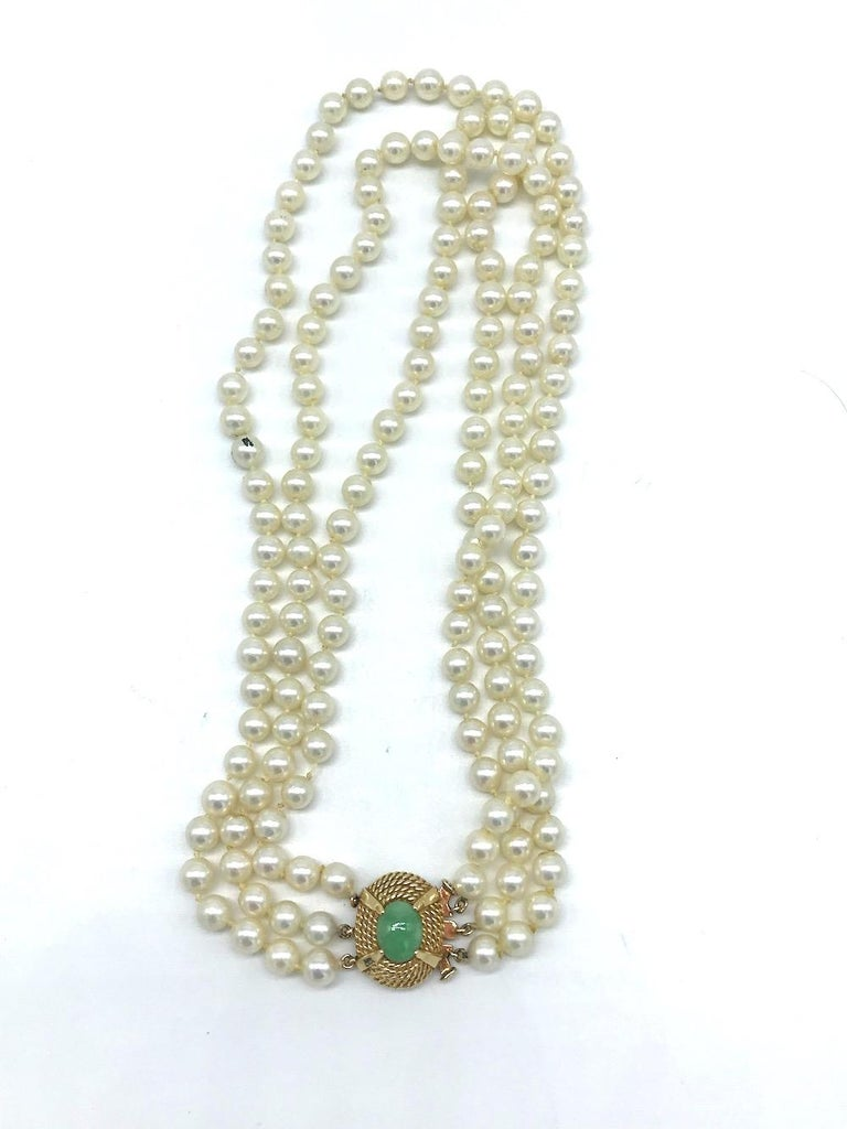 Modern Victorian, Jade Clasp on 3-Strand Pearl, Necklace For Sale