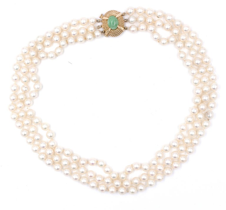 Oval Cut Victorian, Jade Clasp on 3-Strand Pearl, Necklace For Sale