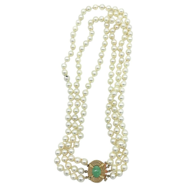 Victorian, Jade Clasp on 3-Strand Pearl, Necklace For Sale
