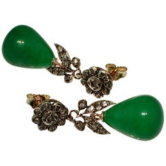 Victorian Jade Rose Cut Diamond Earrings, 14 Carat Gold, Silver