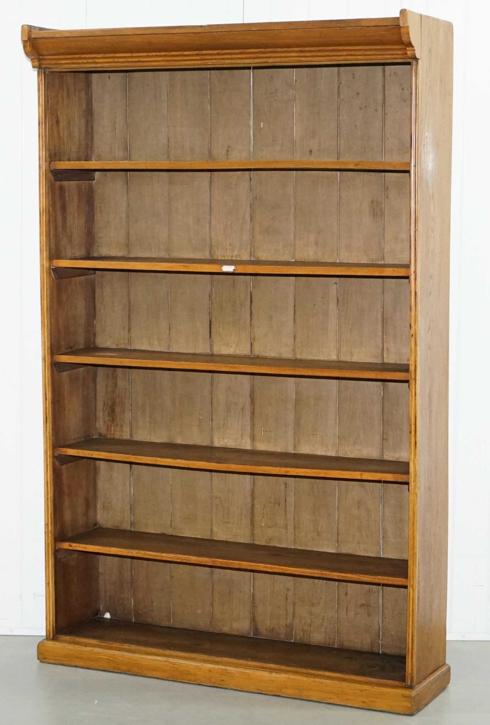 Victorian James Jas Shoolbred Solid Walnut Large Library Bookcase Fixed Shelf