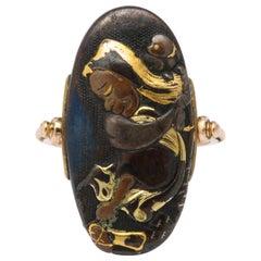 Victorian Japanese Gold and Silver Shakudo Ring