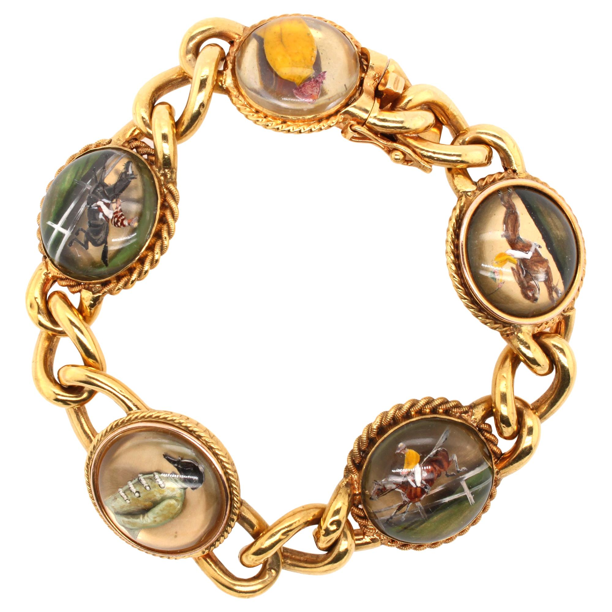 Victorian Jockey Essex Rock Crystal Intaglio Bracelet, circa 1895