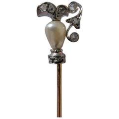 Victorian Jug or Can Natural Drop Pearl Diamonds 18 Karat Gold Platinum Stickpin