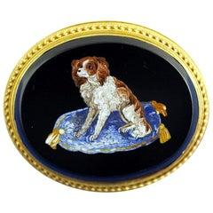 Victorian King Charles Spaniel Dog Micromosaic Brooch, circa 1870