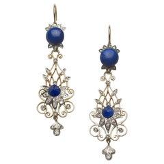 Victorian Lapis Lazuli and Diamond Filigree Drop Earrings