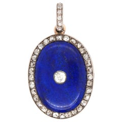 Victorian Lapis and Diamond Locket Pendant, circa 1880s