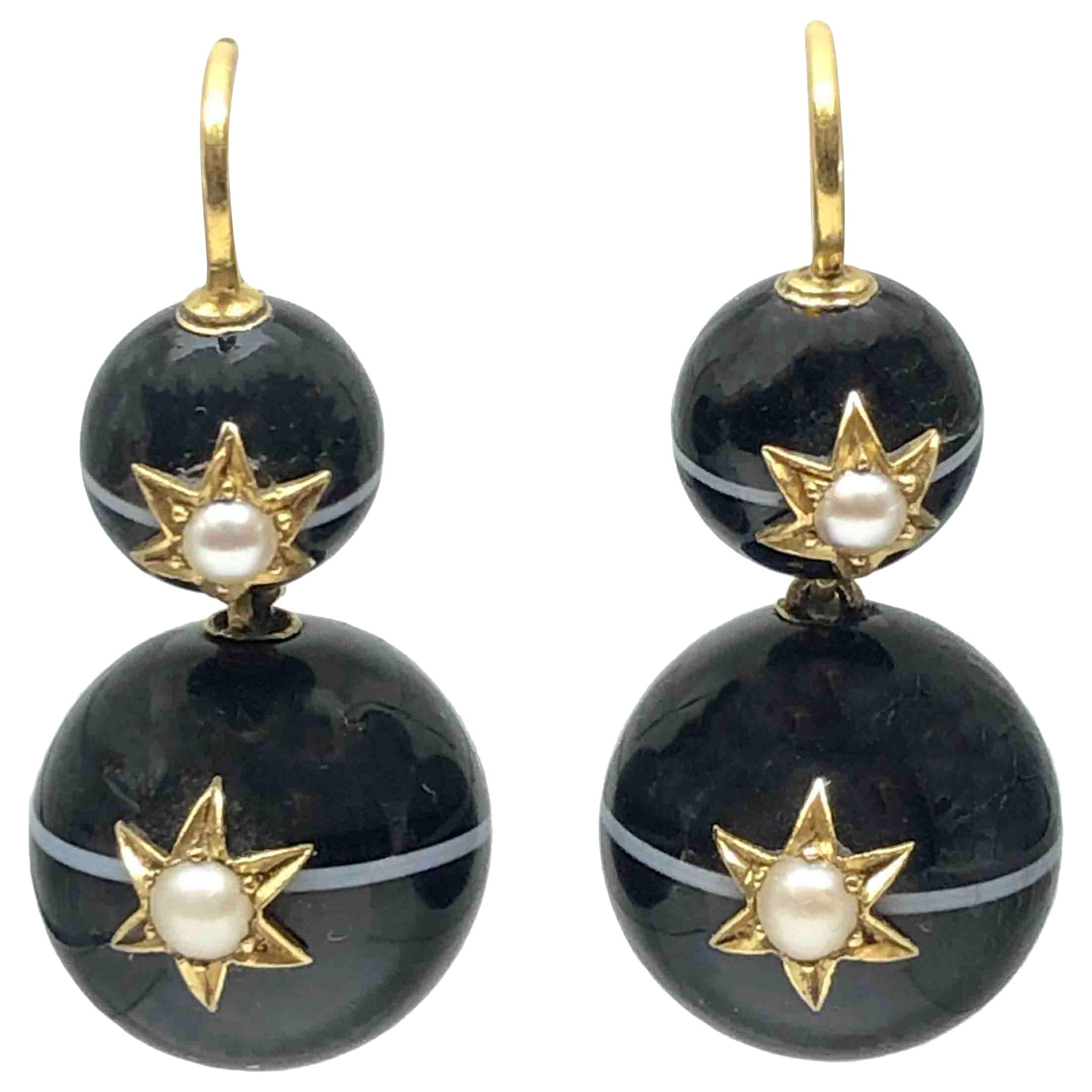 Victorian Large Banded Agate and Gold Earrings