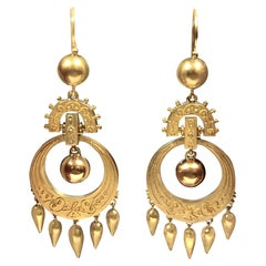 Victorian Large Gold Dangle Earrings