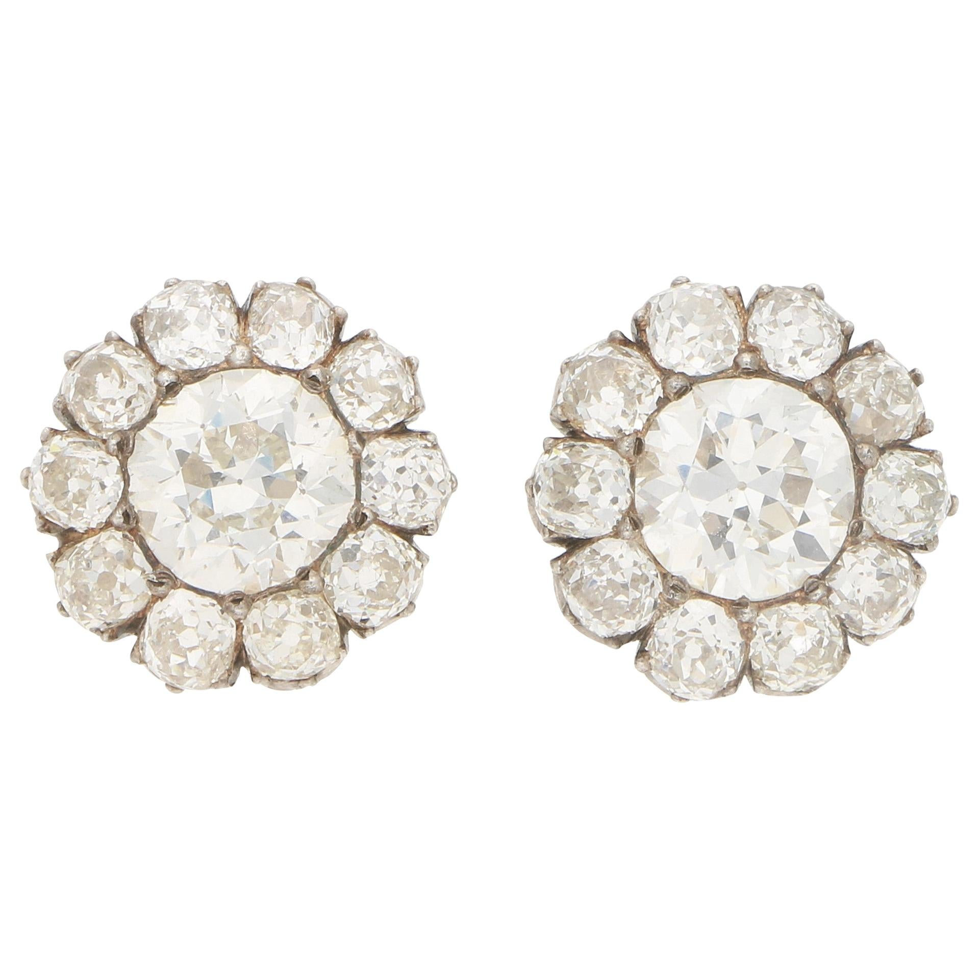 Victorian Large Old Mine Cut Diamond Cluster Earrings in Silver on Gold