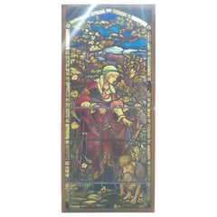 Victorian Large Stained-Glass Hand Painted Window with Mother and Child