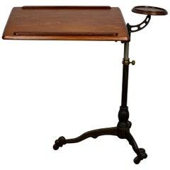 Victorian Late 19th Century Cast Iron Mahogany Reading Table