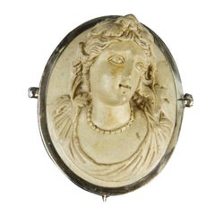Victorian Lava Cameo Hand Carved in High Relief Brooch Pin Estate Fine Jewelry