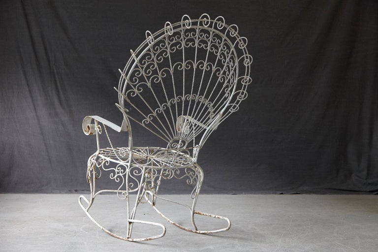 Victorian Lawn Furnishing Style Wrought Iron Peacock